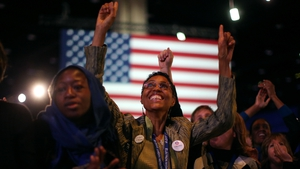 Supporters listen to US President Barack Obama's acceptance speech
