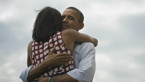 President Obama tweeted this picture on his account along with the words 'Four more years'