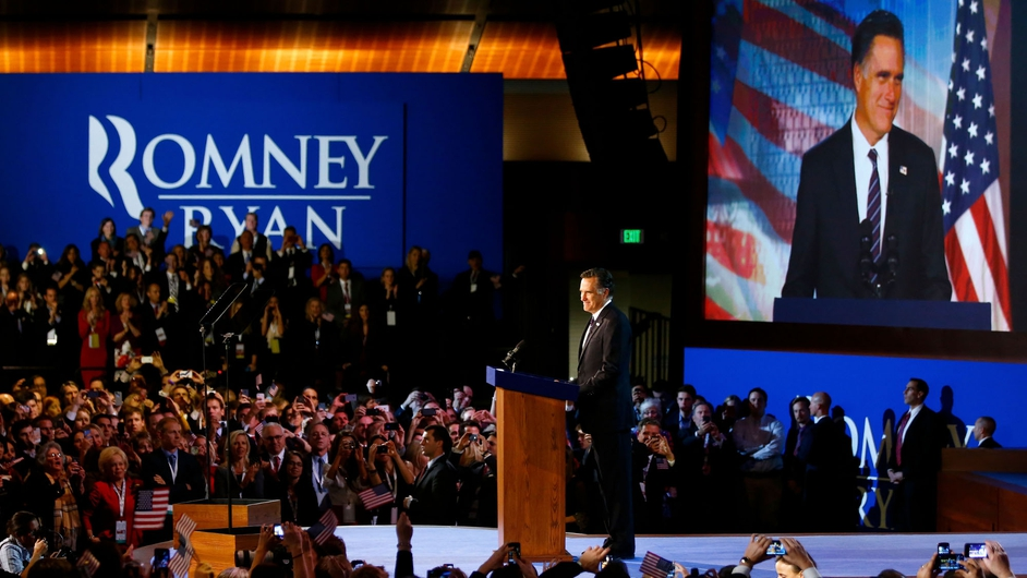 Republican challenger Mitt Romney gives his concession speech to supporters in Boston