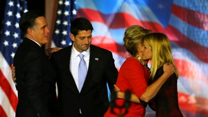 Mitt Romney and his running mate Paul Ryan with their wives Ann and Janna console each other  at the Boston Convention Center