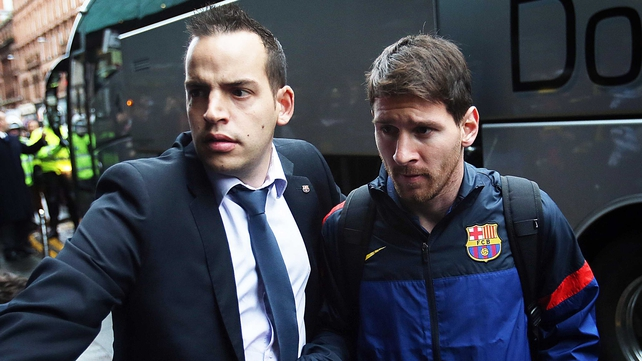 Lionel Messi was escorted into the Barcelona team hotel amid huge interest from Celtic supporters