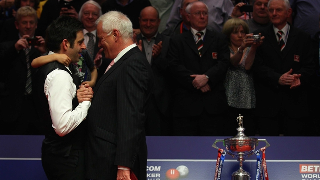 Snooker chief Barry Hearn embraces Ronnie O'Sullivan after last year's Crucible final