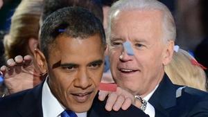 Vice-President Joe Biden congratulates Barack Obama following his acceptance speech in Chicago