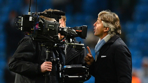 Roberto Mancini had heated exchanges with referee Peter Rasmussen and a cameraman after full-time