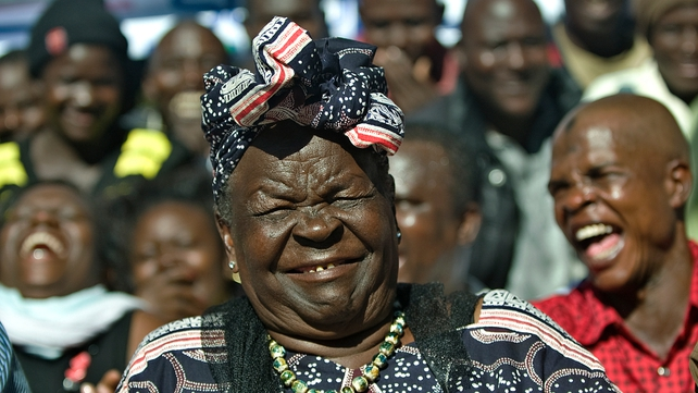 Sarah Obama reacts to the news of her step-grandson's re-election from her home in Kenya