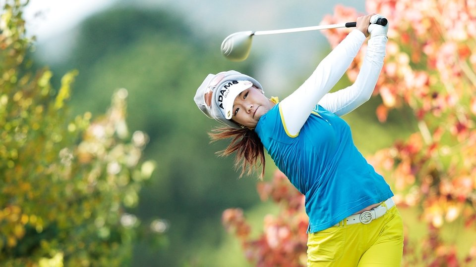 Jenny Shin of USA plays a shot during the second round of the Mizuno Classic at Kintetsu Kashikojima Country Club