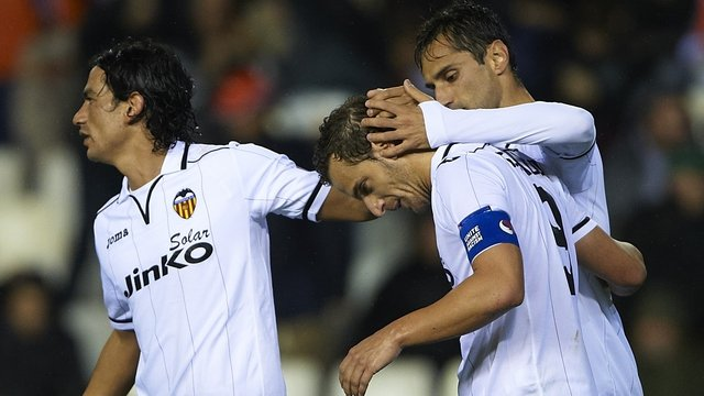 Roberto Soldado after his goal for Valencia
