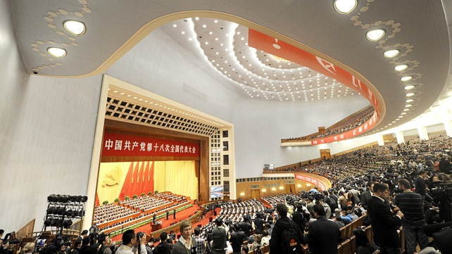 Delegates at the opening of the 18th Communist Party Congress at the Great Hall of the People in Beijing