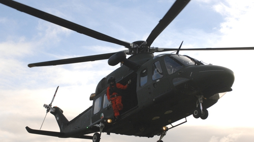 Sergeant Shane Guinan oversees lift-off of an Air Corps AW 139 from Tory Island (Pic: Defence Forces)