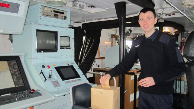 Leading Seaman Whoriskey of the Naval Service cast his vote yesterday on the LE Orla off the southwest coast (Pic: Defence Forces)