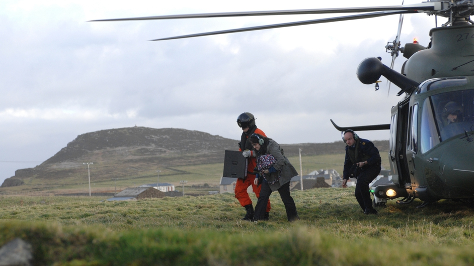 Ballot boxes are delivered to Tory Island off Co Donegal for the Children's Referendum (Pic: Defence Forces)