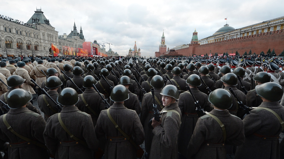 Russian soldiers wearing World War II uniforms take part in a military parade on Red Square in Moscow