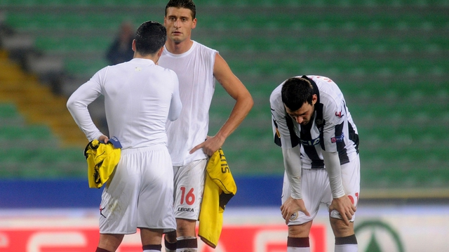 Players of Udinese Calcio show their dejection