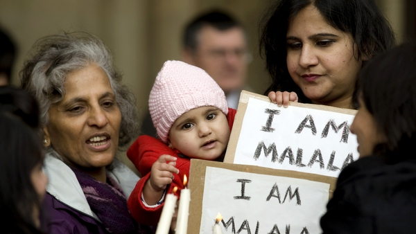 A vigil held in Birmingham for Malala Yousafzai