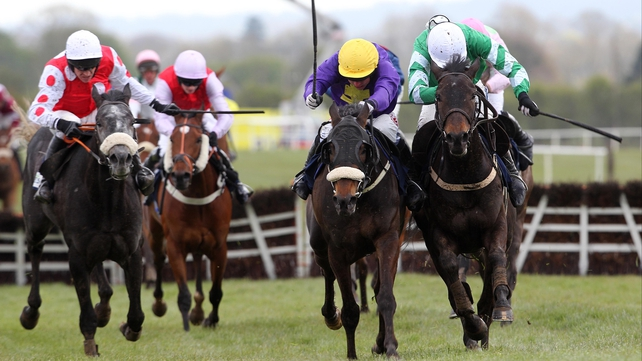 Hisaabaat (yellow and purple) will run in the Fishery Lane Hurdle at Naas