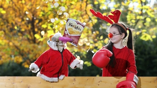Elisha Stanley squares up to Dustin the Turkey to launch the new Keogh's Farm crisp flavour