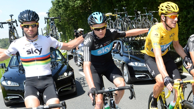 "Chris Froome (c), said of Mark Cavendish's (l) departure: ""Certain promises were made to him that weren't fulfilled."""