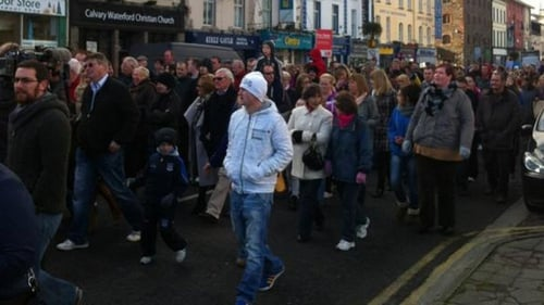 Gardaí said between 12,000 and 15,000 people gathered for the protest