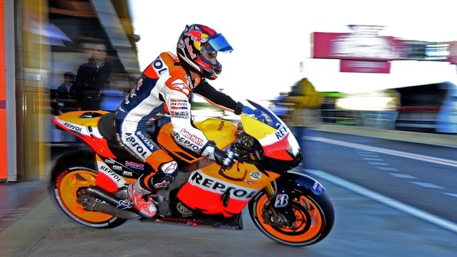 Dani Pedrosa leaves pits at the Ricardo Tormo racetrack