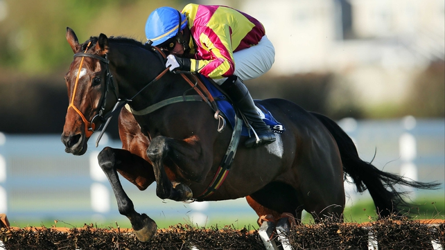 Patrick Kennedy rides Eugene O'Sullivan's A Decent Excuse to a wide-margin victory in the three-mile maiden hurdle