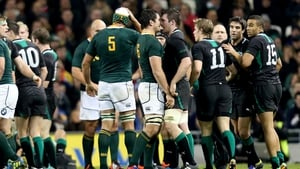 The players squared up after JP Pietersen's late hit on Chris Henry