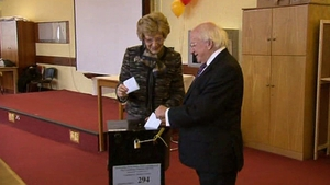 President Michael D Higgins and his wife Sabrina cast their vote in Dublin