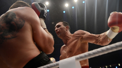 Klitschko on his was to victory at the O2 Arena