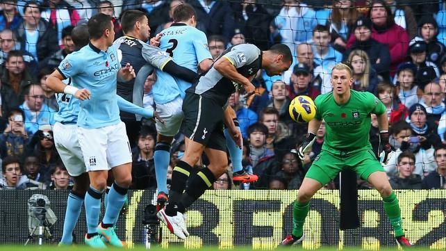 Steven Caulker puts Spurs ahead at Manchester City