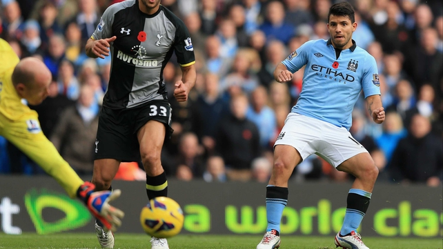Sergio Aguero nets his second half equaliser