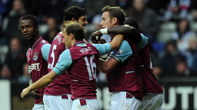 Delight amongst the West Ham players after Kevin Nolan's goal
