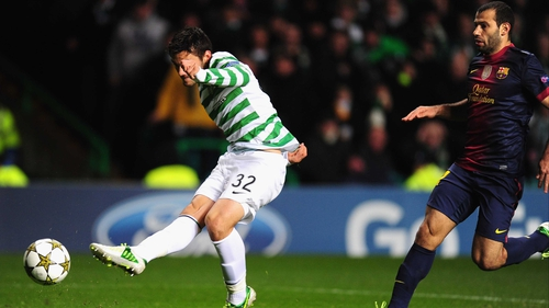 Celtic's Tony Watt scores the winner against Barcelona