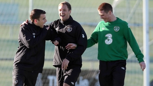 James McCarthy (r) enjoying some training session banter with Seamus Coleman (l) and David Meyler