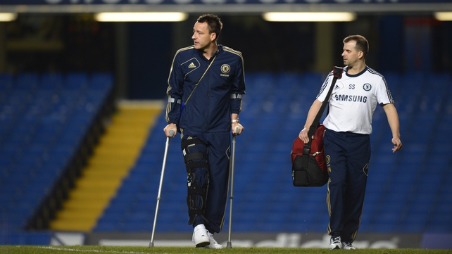 John Terry walking on crutches after Chelsea's draw with Liverpool at Stamford Bridge