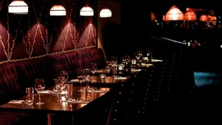 The dark interior of the new restaurant and cocktail club