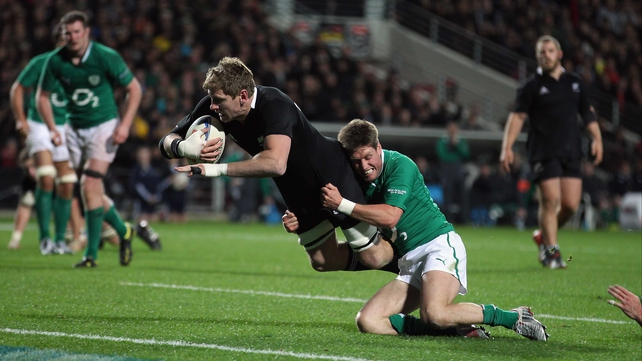 Adam Thomson, seen here scoring a try against Ireland in Waikato Stadium, has been cited for stamping on Scotland's Alasdair Strokosch