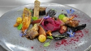 Hay-smoked pigeon, beetroot, chicory and grapes