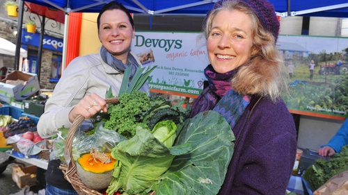 Maja Suchenka from Clonakilty with Sara Devoy from Devoys Organic Farm in Rosscarbery, West Cork pictured at Clonakilty Farmers Market, Co Cork