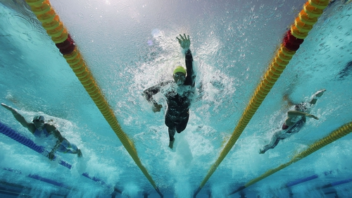 Ian Thorpe competing in the men's 400 metre freestyle at the Athens Olympics