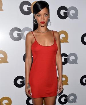 Rihanna in red slip dress