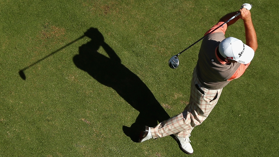 Graeme McDowell tees off during practice ahead of the 2012 Australian Masters