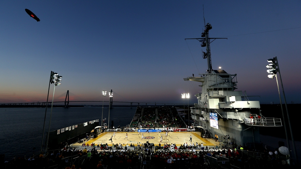 And on the USS Yorktown, Notre Dame took on Ohio State under lights