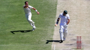 James Pattinson of Australia celebrates taking a wicket during day five of the First Test between Australia and South Africa