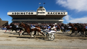 Action from the NZ Trotting Cup at Addington Raceway in Christchuch, New Zealand