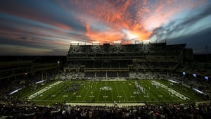 Sunset over Amon G Carter Stadium as Kansas State Wildcats take on the TCU Horned Frogs in Fort Worth, Texas