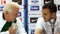 Evanne Ní Chuilinn hears from Giovanni Trapattoni and John O'Shea ahead of the friendly against Greece