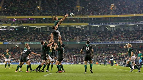 Ireland's Mike McCarthy and Eben Etzebeth of South Africa compete in a lineout in Dublin on Saturday