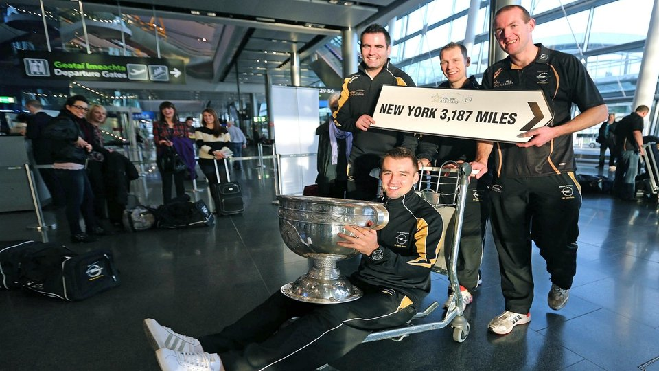 Sam Maguire heads to New York in the company of Donegal's Paul Durcan, Anthony Thompson, Neil Gallagher and Karl Lacey