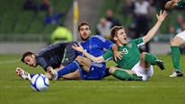 Irish captain John O'Shea gives his reaction to Adrian Eames