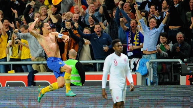 Zlatan Ibrahimovic of Sweden celebrates scoring his fourth goal