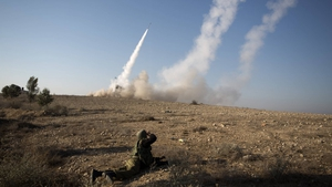 An Israeli missile is launched from the Iron Dome missile system in the southern Israeli city of Beer Sheva